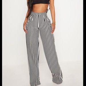 Black & White striped wide long leg pants